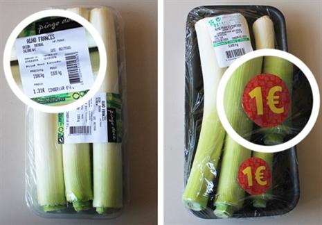Uma embalagem de alho francês cortado do Pingo Doce (€ 1,31), comprado a granel, na mesma loja, e para a mesma quantidade de legume comestível, custaria só 67 cêntimos. Já no Jumbo (€ 1) pagaria apenas 62 cêntimos.