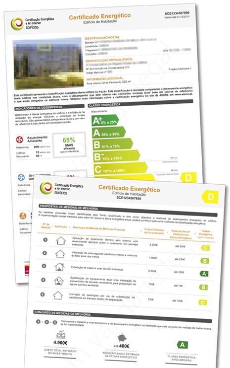 Além da análise às características de consumo energético do imóvel, o certificado indica melhorias para reduzir o consumo e obter uma classe superior (fonte: ADENE).